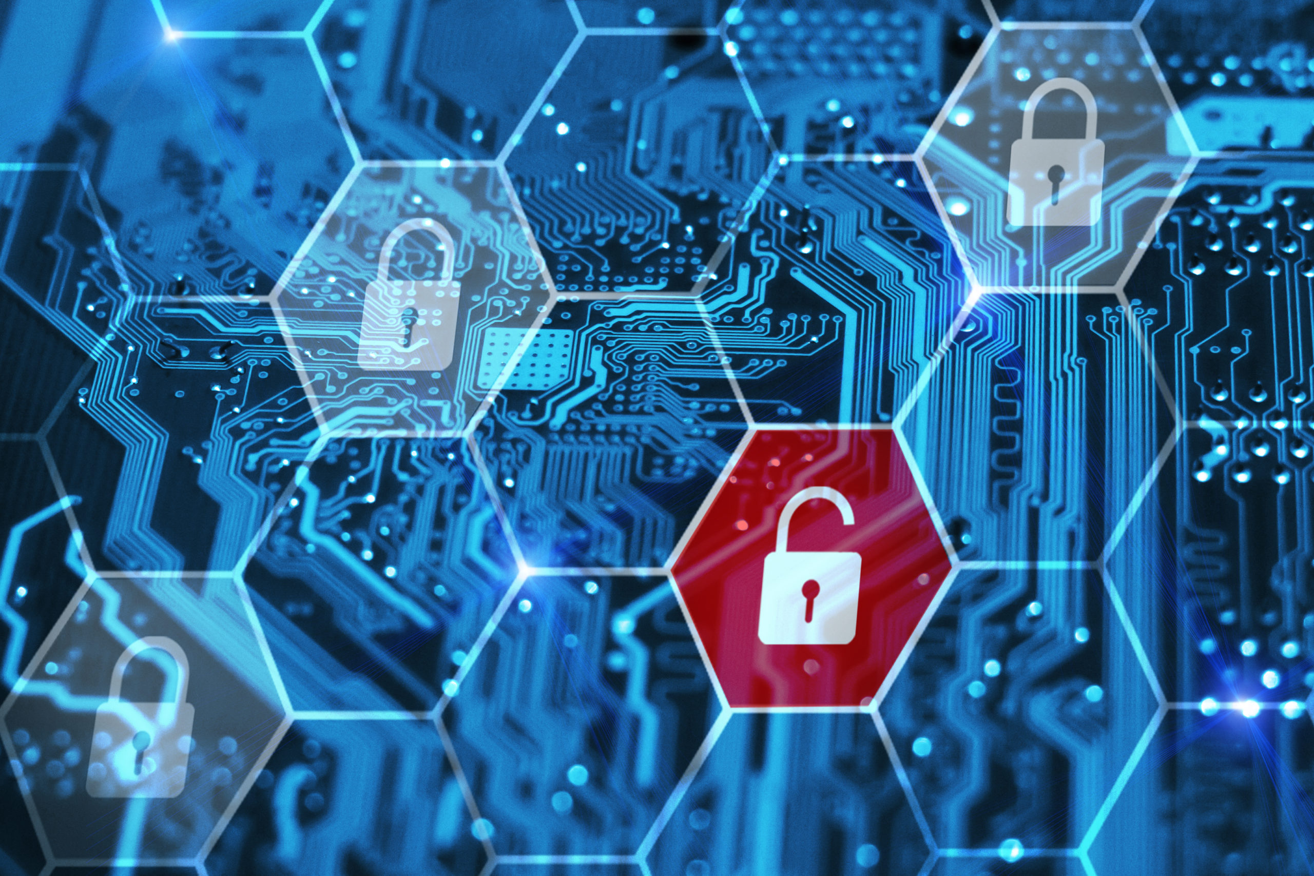 Internet piracy and cybersecurity concept. Integrated circuit and virtual digital padlocks.