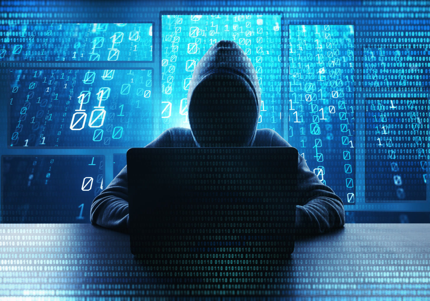 Hacking,And,Malware,Concept.,Hacker,Using,Abstract,Laptop,With,Binary