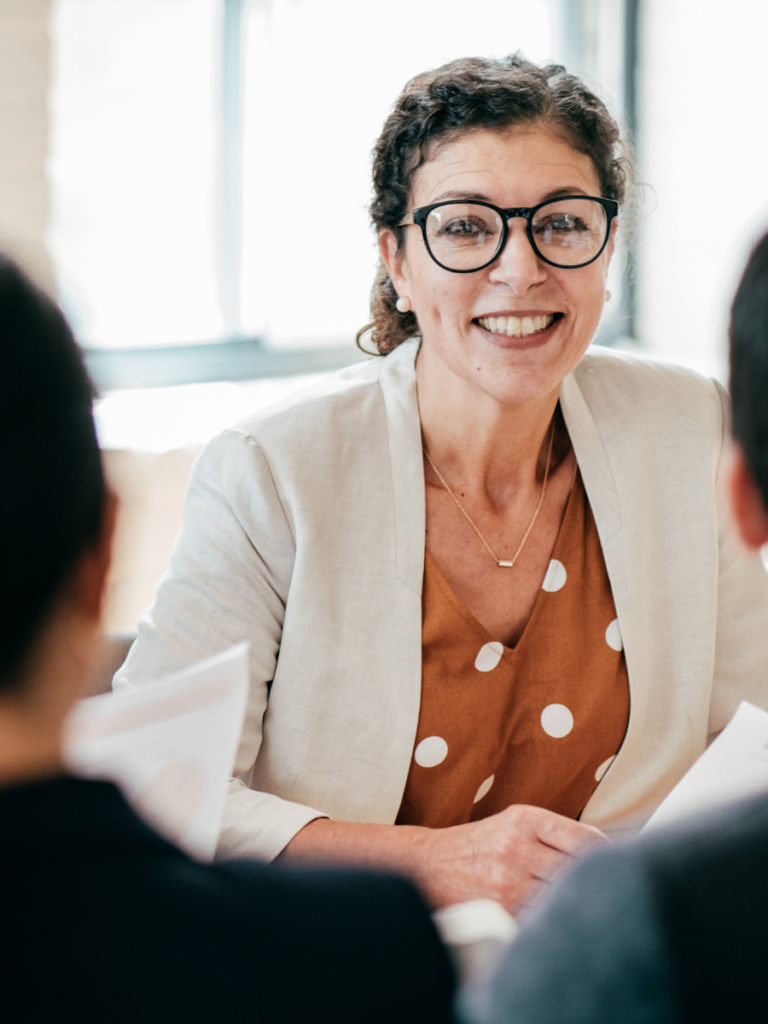 Woman in business conversation